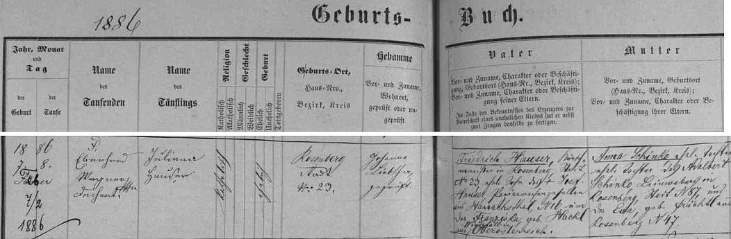Narodila se podle záznamu v matrice města Rožmberk nad Vltavou v domě čp. 23 zdejšímu kožešníkovi Friedrichu Hauserovi (jeho otec pocházel z Harrachova, manželka Franziska, roz. Hacklová, z Horního Rakouska) a jeho ženě Anně, roz. Schinko, dceři tkalce Adalberta Schinko a jeho manželky Evy, roz. Früchtlové, obou z Rožmberka nad Vltavou