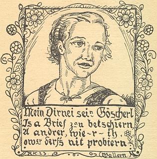 Jeho kresba pro šumavský kalendář na rok 1924 ilustruje lidové veršování z Volar, které by česky znělo asi takto: Má panenka mi svou hubičku poslala v jednom psaní, někdo jinej jako já ale nesmí to zkoušet na ní