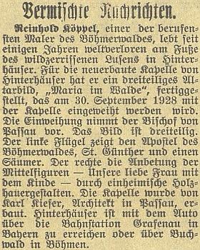 """Z práva v tisku o jeho třídílném oltářním obraze """"Maria v lese"""" pro kapli veWaldhäuser am Lusen (tady se píše ještě """"Hinterhäuser"""")"""