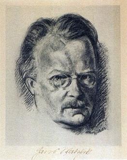 Jeho dva portréty Hanse Watzlika - z roku 1923, podepsaný i portrétovaným, a z roku 1927