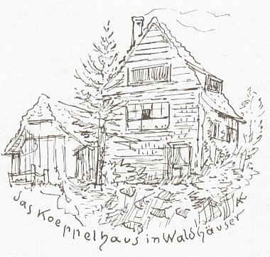 Koeppelův dům ve Waldhäuser am Luse na kresbě Alfreda Kubina