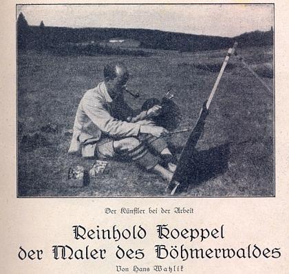 """Přílohou k 6. číslu 1. ročníku časopisu Der Waldbrunnen (tj. Lesní pramen), který v Horní Plané vydávalo sdružení Heimdallbund für den Böhmerwald a který řídil Adolf Webinger za stálé spolupráce Karla Franze Leppy a Eberharda Königa, byla jeho kresba s názvem """"Žencovo jitro"""""""
