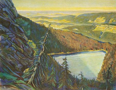 Černé jezero na Šumavě na jeho obraze