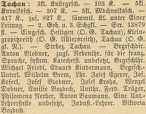 Ve Statistickém popisu školních okresů Čech (1884) ho německá část publikace jmenuje mezi tachovským učitelstvem příjmením Koferl