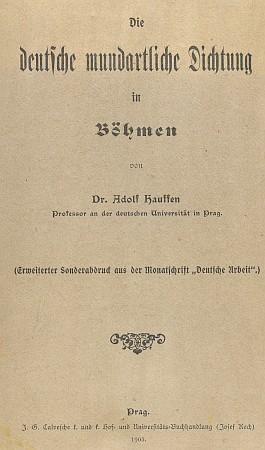 Obálka (1903) výboru německé nářeční poezie i s jeho verši