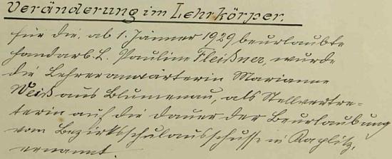 Záznam o jejím nástupu do školy v Přední Výtoni od 1. ledna 1929...
