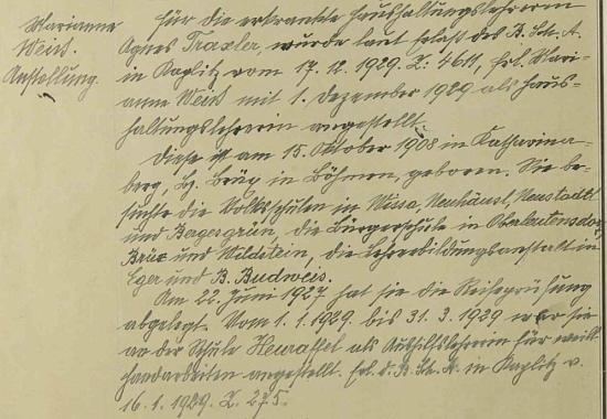 Záznam o jejím nástupu na školu v někdejším Rychnůvku (tehdy Německý Rychnov u Frymburka) je na stránkách školní kroniky provázen i životopisem