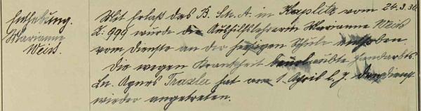 I v Rychnůvku působila jako výpomocná učitelka domácích prací pouhé tři měsíce a k 1. dubnu 1930 podle záznamu ve školní kronice odchází