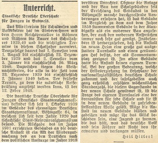 """Nacisticky pádné oznámení o tom, že """"staatliche Deutsche Oberschule für Jungen (Deutsches Staatsrealgymnasium)""""     se od 1. října 1939 nachází v budově někdejšího německého státního gymnázia v České ulici - zdá se podle slov v závěru, že sám Vůdce to tak chce..."""