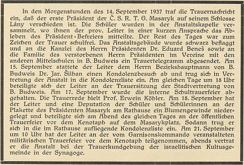 Z tohoto textu k úmrtí prezidenta Masaryka se mj. dovídáme, že řečníkem na smuteční slavnosti německého vyššího reálného gymnázia v Českých Budějovicích dne 17. září roku 1937 byl její budoucí manžel, profesor Erwein Köhler