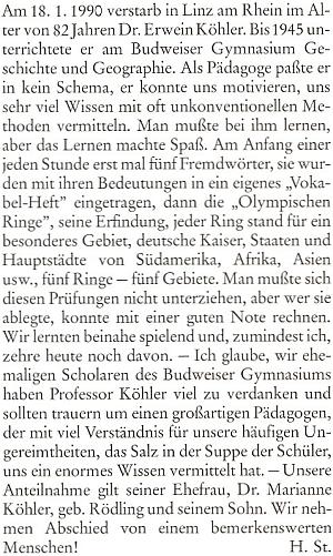 Nekrolog jejího muže, který napsal do krajanského měsíčníku Heinz Stegmann