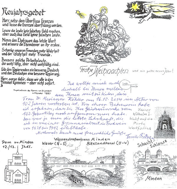 Z dopisu Tassilo Bitzana se zprávou o jejím úmrtí