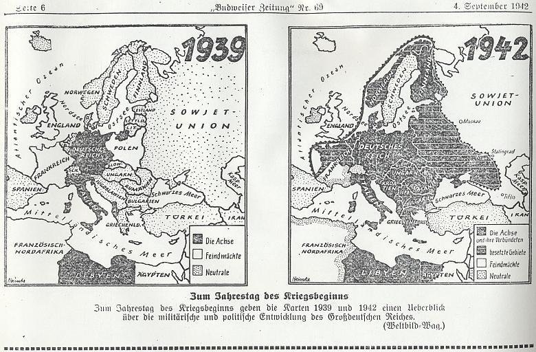 Toho roku (zde srovnávací mapky let 1939 a 1942) stanula Hitlerova armáda před Stalingradem