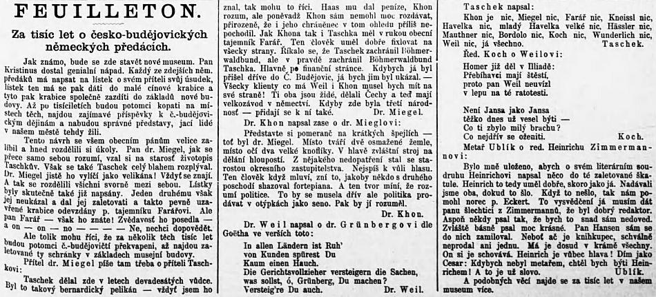 """Podčárník Budivoje již psaním Kohnova příjmení """"Khon"""" a narážkami na to, od koho že měl Josef Taschek rozum, svědčil o antisemitské ubohosti autora"""