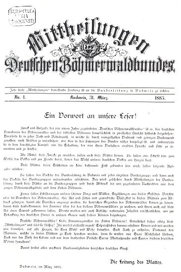 """Titulní list prvého čísla """"Mittheilungen des Deutschen Böhmerwaldbundes"""" z března roku 1885"""