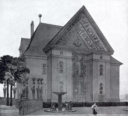 Neuskutečněný návrh architekta Heinricha Rieda (1881-1957), mj. autora projektu českobudějovické Městské spořitelny (otevřena v prosinci 1913), na Kohnovu vilu v Českých Budějovicích, vzniklý před rokem 1917