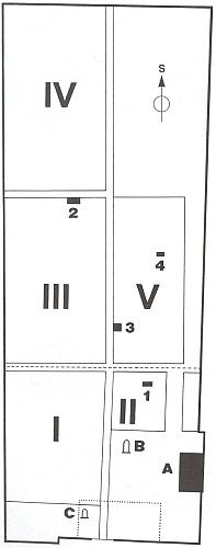 Plánek židovského hřbitova vČeských Budějovicích - arabskou číslicí 2 je označeno místo, kde stával náhrobek Kohnův