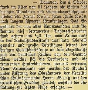 Zpráva o smrti Kohnovy ženy Julie v 51 letech jejího věku prozrazuje i to, že dům smutku byl na Rudolfovské ulici a průvod odtud mířil k židovskému hřbitovu