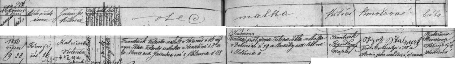 """Záznam o narození Kateřiny Valentové v Křemži v tamní křestní matrice s přípisem o datu jejího skonu v tehdy """"říšském"""" Záboří"""