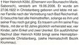 Zpráva o úmrtí Heinricha Kölbla (*27. června 1922 v Křišťanově), manžela Marie Rotschedlové a Heinzova otce, na stránkách krajanského měsíčníku