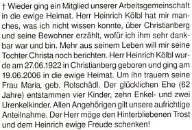Karl Halletz v otcově nekrologu připomíná i 62 let manželství Heinricha Kölbla s Marií Rotschedlovou (1944-2006)