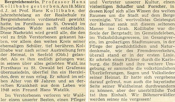 Nepodepsaný nekrolog v krajanském měsíčníku z roku 1950
