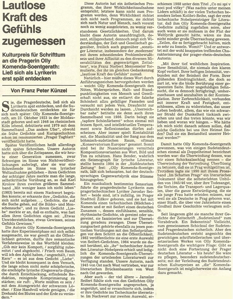 Překladatel české literatury Franz Peter Künzel věnoval jí tento text k udělení kulturní ceny krajanského sdružení za její dílo při příležitosti Sudetoněmeckého sněmu v roce 1995
