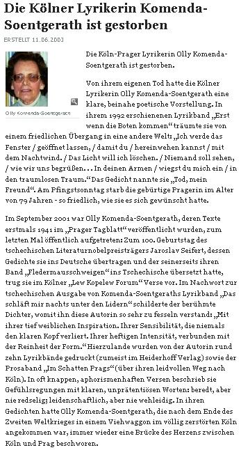 Nekrolog v německém deníku z Kolína nad Rýnem