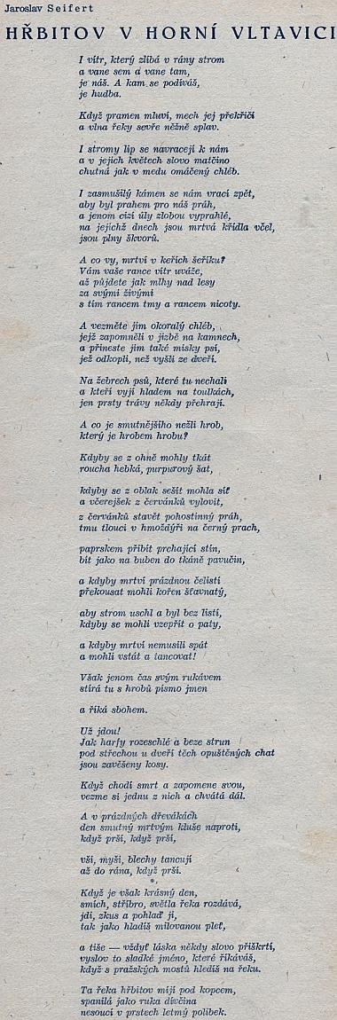 Nezkrácená verze Seifertovy básně o hřbitově v Horní Vltavici, jak vyšla v šumavském kalendáři na rok 1948