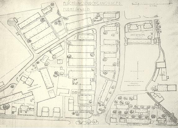 Plánek uprchlického tábora Furth im Wald
