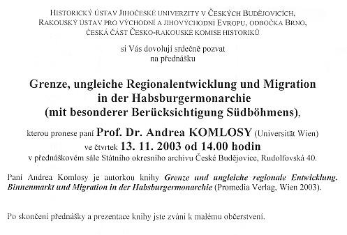 Pozvánka na přednášku v Českých Budějovicích