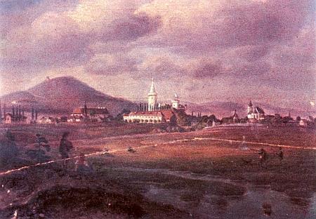 Olejomalba neznámého autora zachycuje Bor u Tachova sdominantou zdejšího zámku a kostela, v pozadí s hradem Přimda