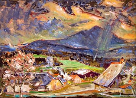 Hora Bobík na olejomalbě Jiřího Rejžka z roku 1980