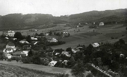 Pohlednice Josefa Seidela s panoramatem Zelené Lhoty