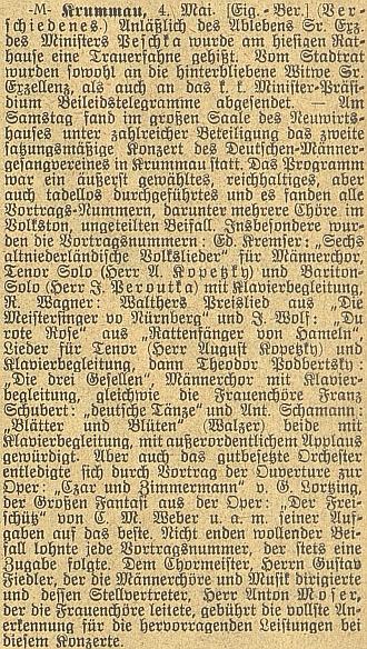 Jeho sólový tenor býval i podle této zprávy     z roku 1908 ozdobou českokrumlovských koncertů