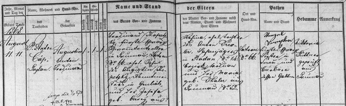 Záznam o jeho narození v českokrumlovské matrice s přípisem o datu úmrtí