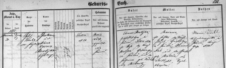 Záznam o narození jeho ženy Albine v českokrumlovské matrice