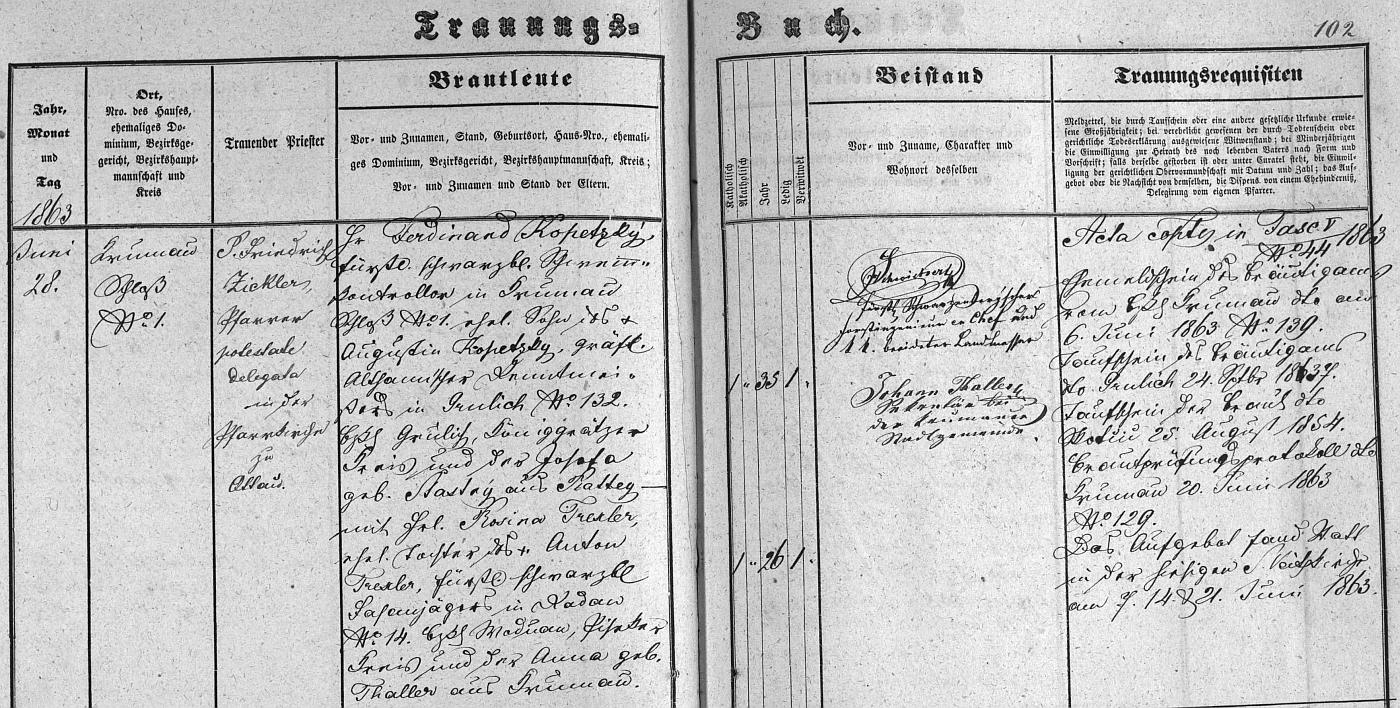 """Záznam o svatbě rodičů českokrumlovské """"Knize oddaných"""" s podpisem Johanna Thallera jako svědka"""