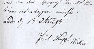 Podpis jeho děda Paula Köppla, mlynáře z Rychnova nad Malší, který tu žádá dne 13. října roku 1795 o udělení měšťanského práva v Českých Budějovicích