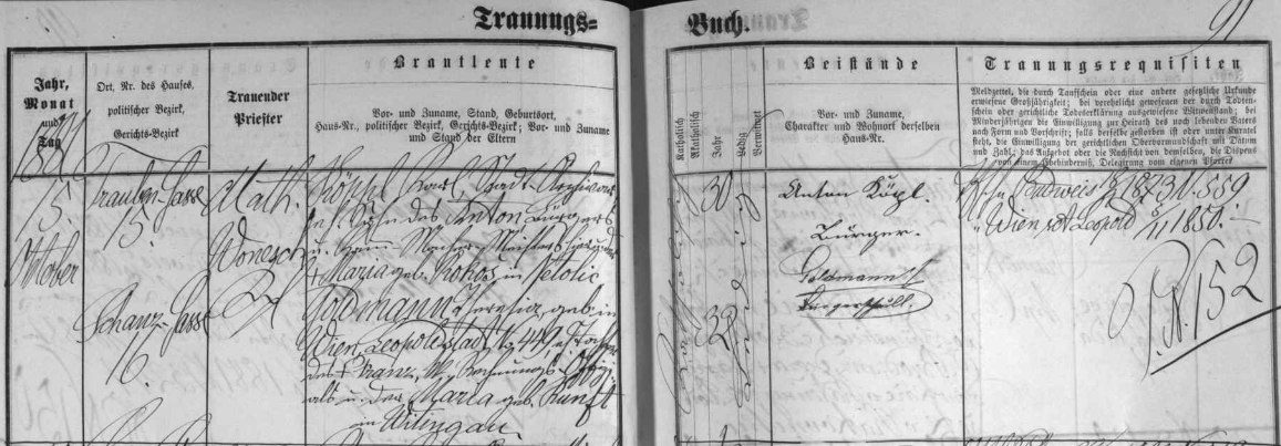 Záznam českobudějovické oddací matriky o jeho zdejší svatbě dne 15. října roku 1881 u sv. Mikuláše, kde ho tehdejší kaplan Mathias Wonesch sezdal třicetiletého se dvaatřicetiletou Theresií, narozenou ve Vídni jako dcera tamního účetního oficiála Franze Goldmanna a Marie, roz. Kunftové z Třeboně
