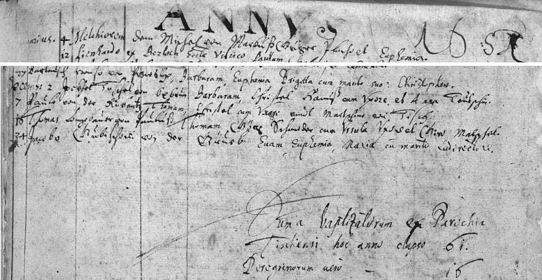 """Výřez ze záznamů ktišské křestní matriky pro rok 1651 s latinskými záznamy i pro ves """"Pauluß"""", např. vpředposledním řádku (č. 16) """"...von Pauluß"""""""