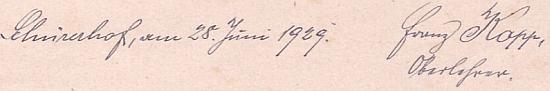 Podpis ze stránek školní kroniky na závěr školního roku 1928/1929