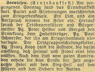 Zpráva o jeho dožínkové řeči v Javorné v září 1941