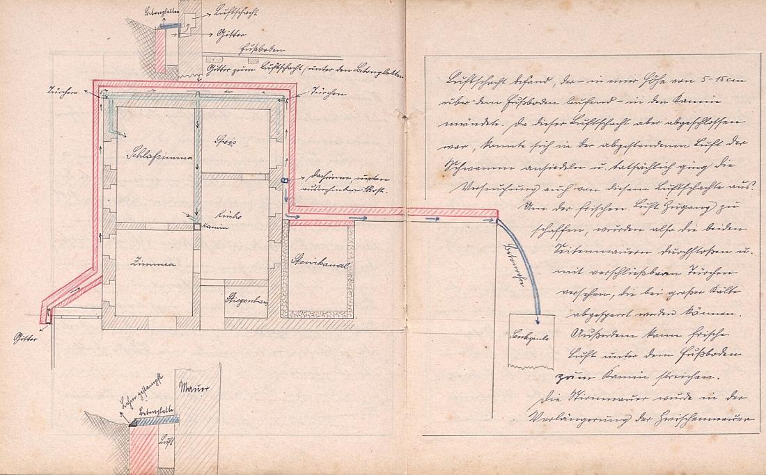 Dvojstrana v kronice s jeho vlastnoručním nákresem tamního učitelského bydlení