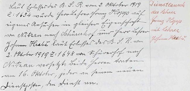Zápis v kronice německé obecné školy v Nicově o jeho odchodu na Schürerhof výměnou s tamním učitelem Hrabětem