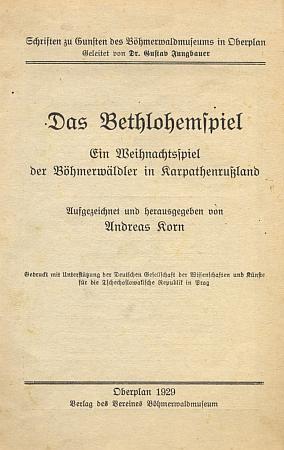 Obálka (1929) jeho knihy, vyšlé nákladem spolku Šumavského muzea v Horní Plané