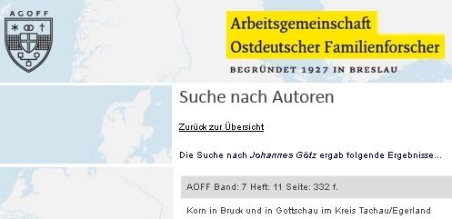 "V rodopisném sborníku ""Arbeitsgemeinschaft Ostdeutscher Familienforschung"" věnoval Johannes Götz rodu Kornů v Kočově a Brodu nad Tichou (Bruck) význačný text"