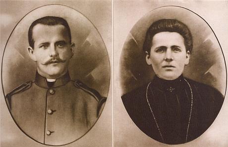 Franz Kortus a jeho žena Albina na snímcích z roku 1908