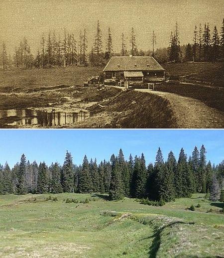 Tady Roklanská hájenka stávala - srovnání jednoho z nejstarších snímků z konce 19. století a současný stav