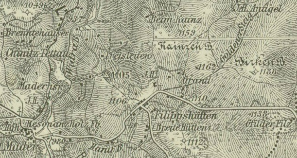 Poloha Preisleiten na staré mapě, vrch Kainzen Berg uprostřed napravo je dnes na mapách značen jako Jelení vrch (1176m)